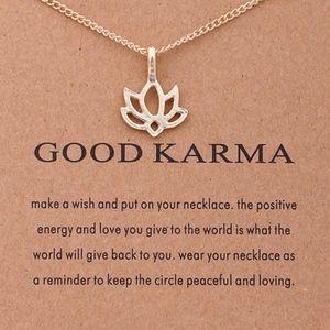 Gold Good Karma Lotus Flower Charm Necklace